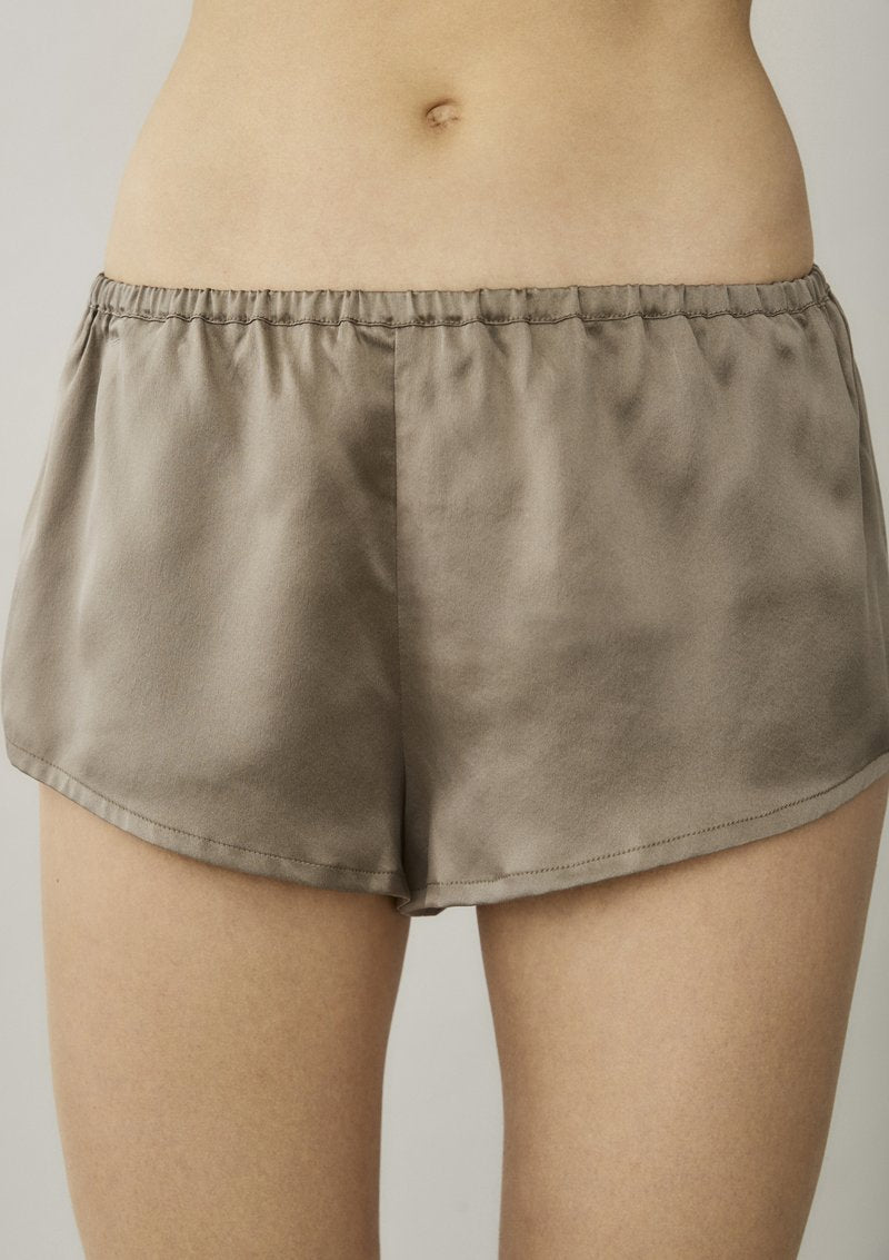 ASCENO VENICE BROWN TAUPE SILK PYJAMA SHORTS