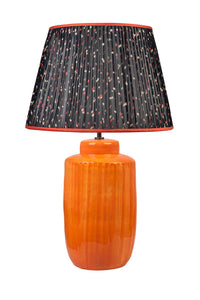 "Black and Burnt Orange Floral 16"" Handmade Silk- Lined Lampshade"