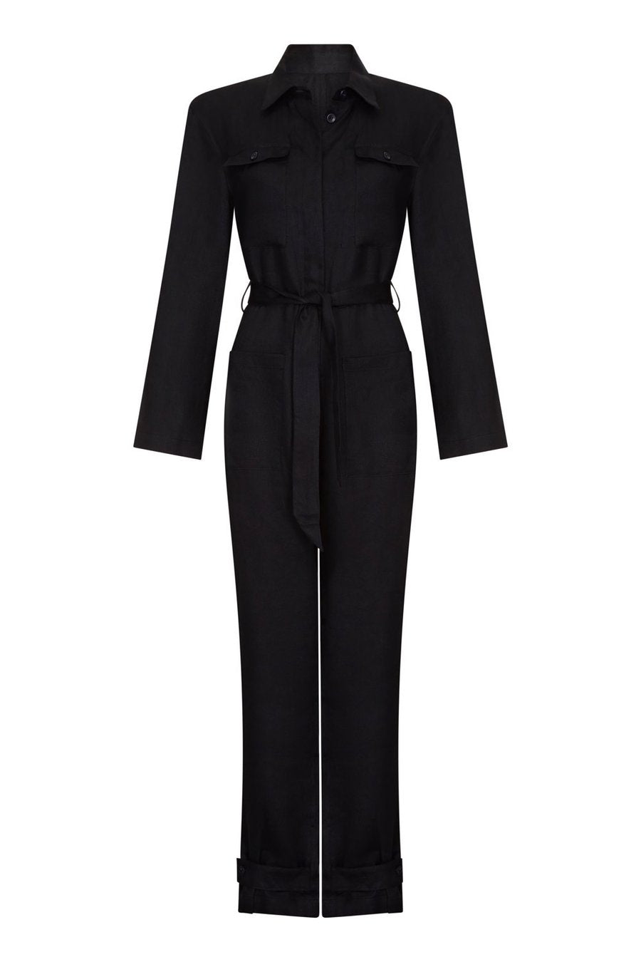 ASCENO ANTWERP BLACK LINEN BOILERSUIT
