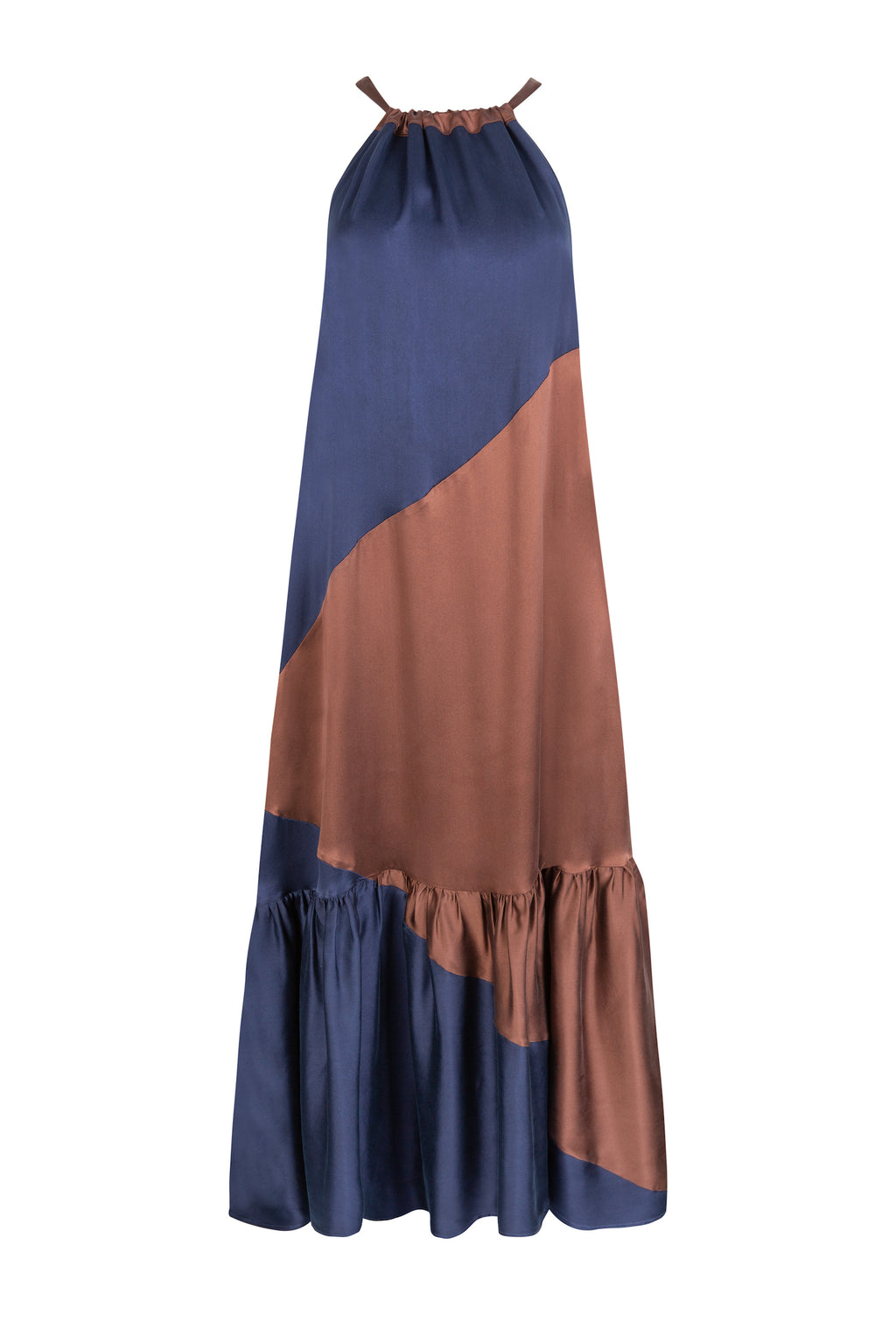ASCENO IBIZA BROWN & NAVY SILK TWILL DRESS
