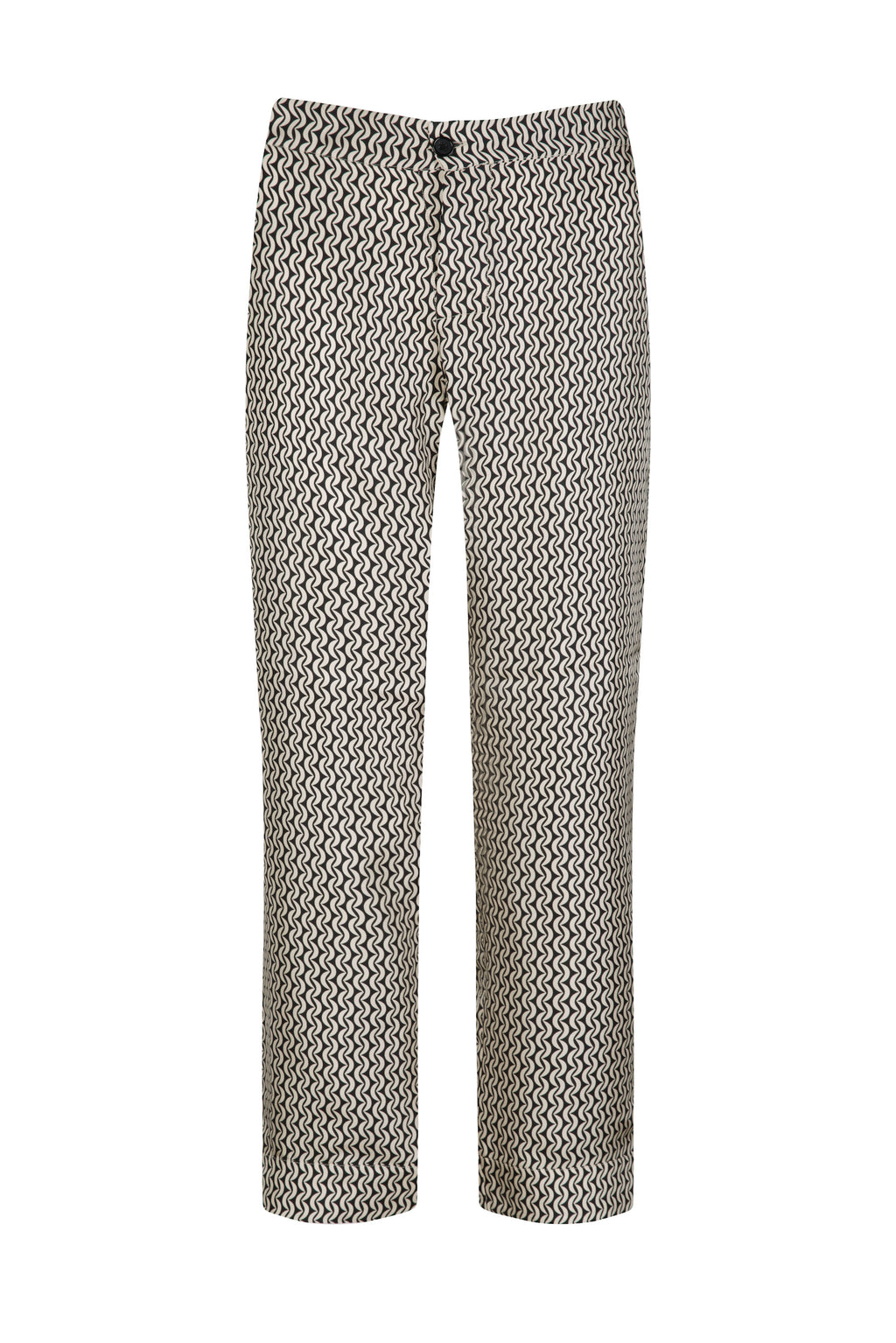ASCENO ANTIBES CREAM CRESCENT SILK TWILL TROUSER