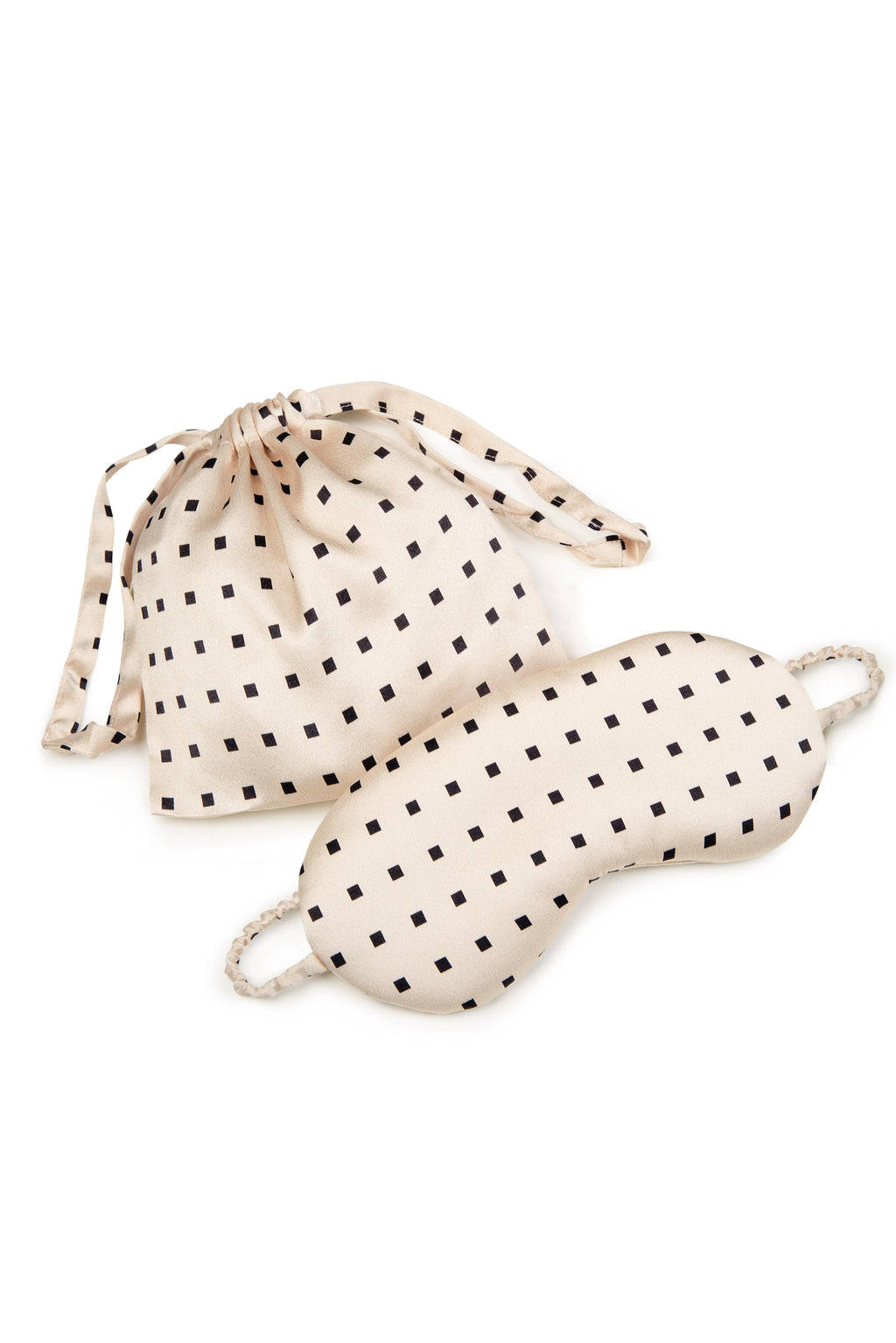 ASCENO LONDON CREAM SQUARE SILK EYE MASK