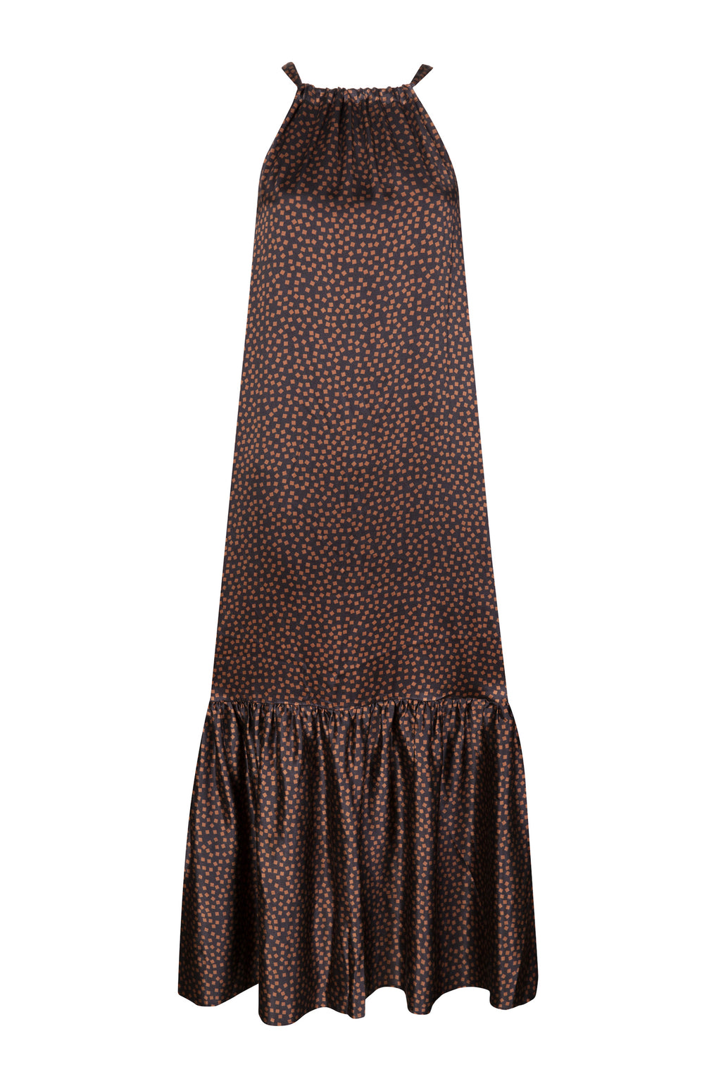 ASCENO IBIZA BROWN MOSAIC SILK DRESS