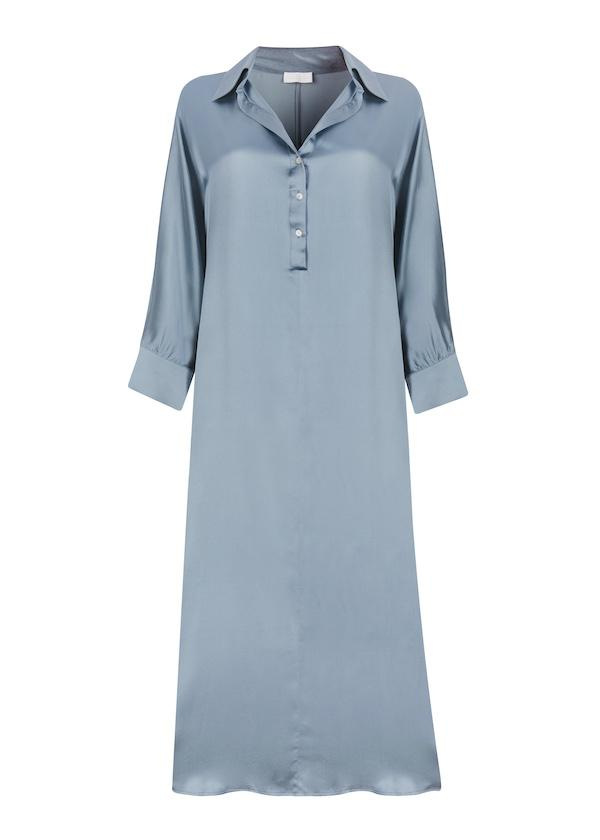 ASCENO PORTO DUST BLUE SILK SHIRT DRESS