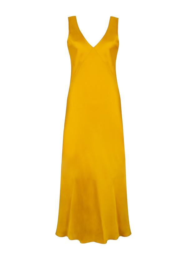 ASCENO BORDEAUX MIMOSA SILK SLIP DRESS