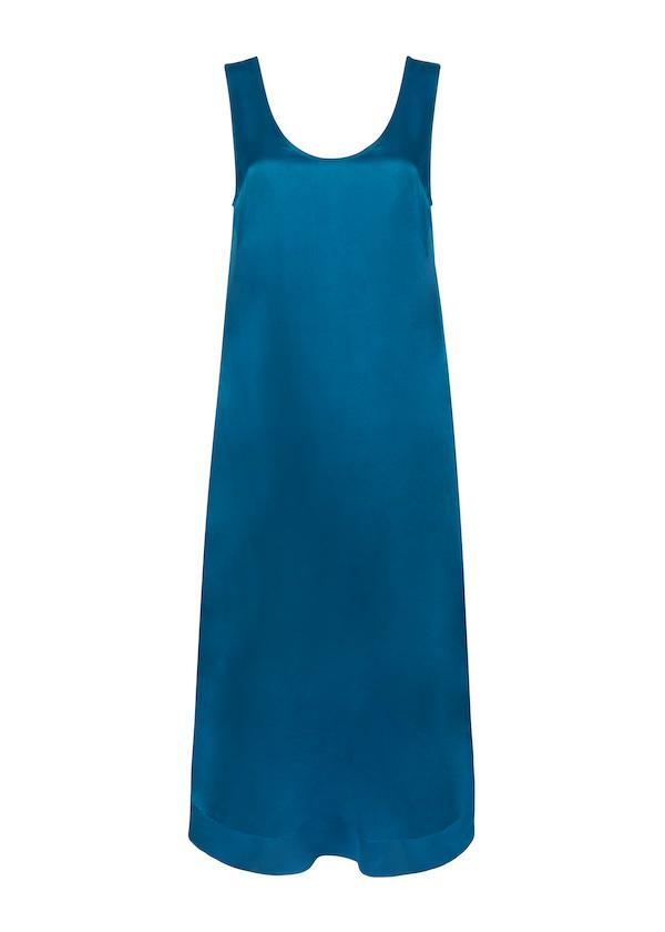 ASCENO CAPRI DEEP SEA SILK SCOOP-NECK DRESS