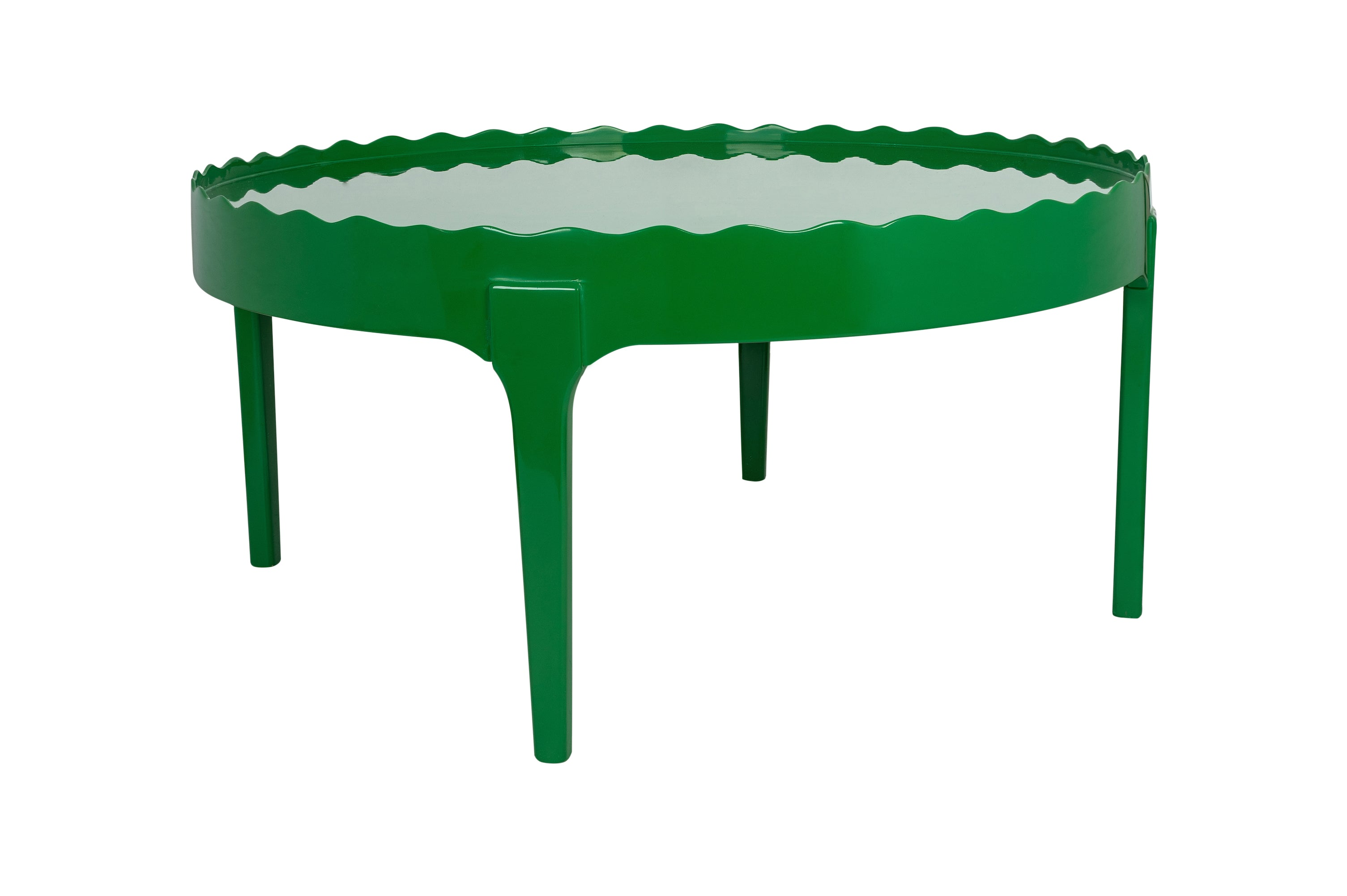 Hand-Lacquered Handmade Round Emerald Green Scalloped Coffee Table