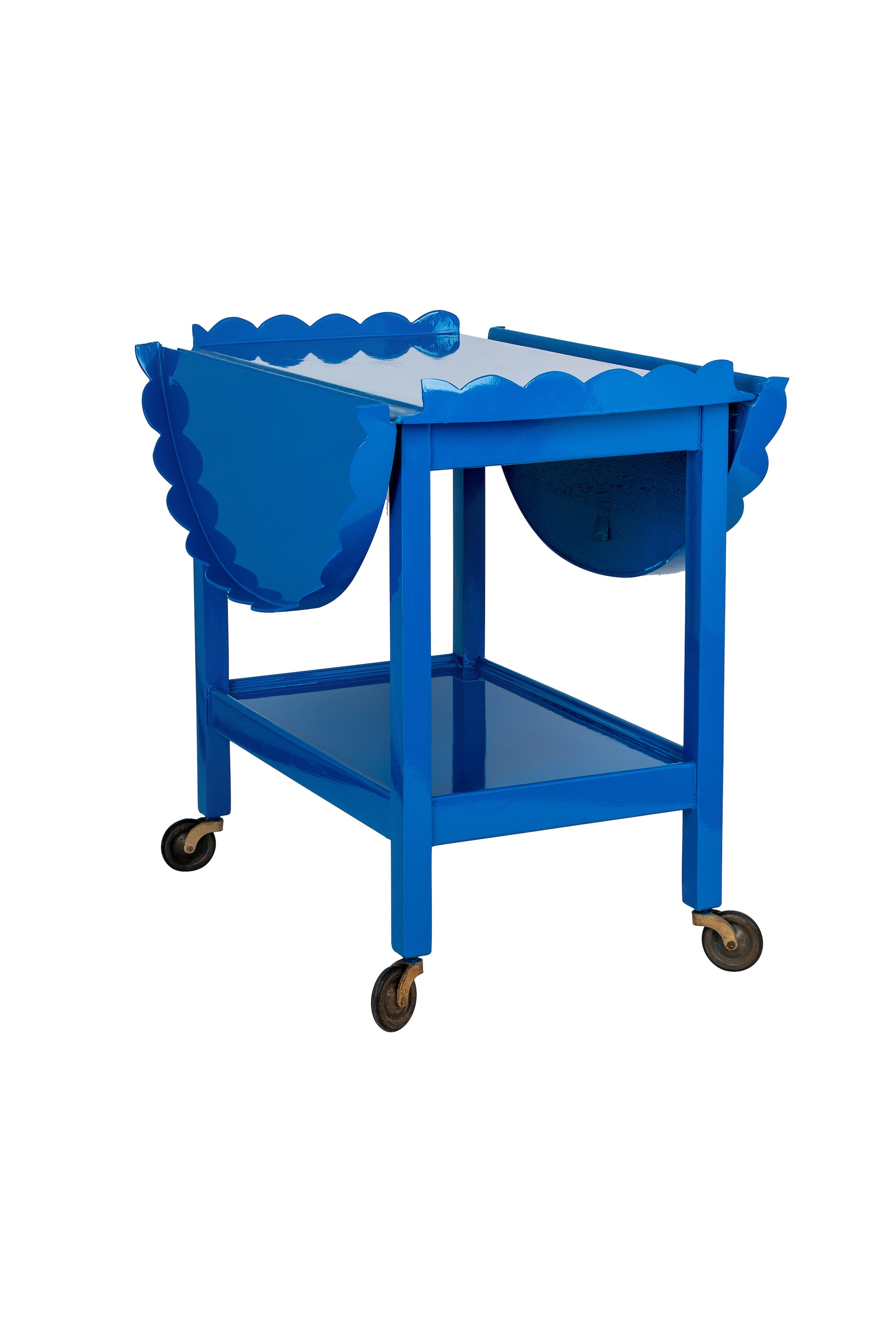 Vintage Cobalt Blue Hand-Lacquered Two-Tiered Winged Scalloped Trolley