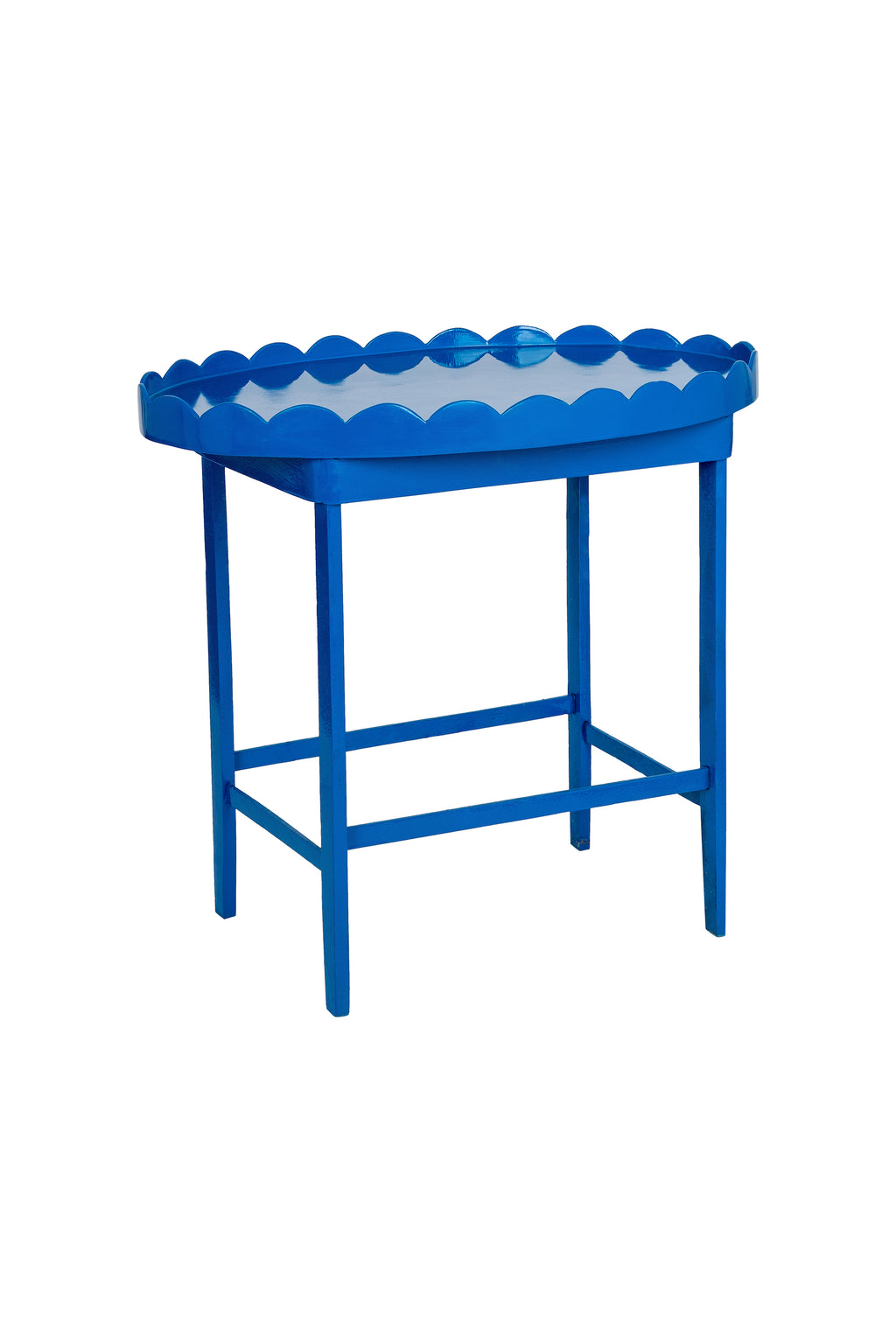 Vintage Cobalt Blue Hand-Lacquered Scalloped Side Table