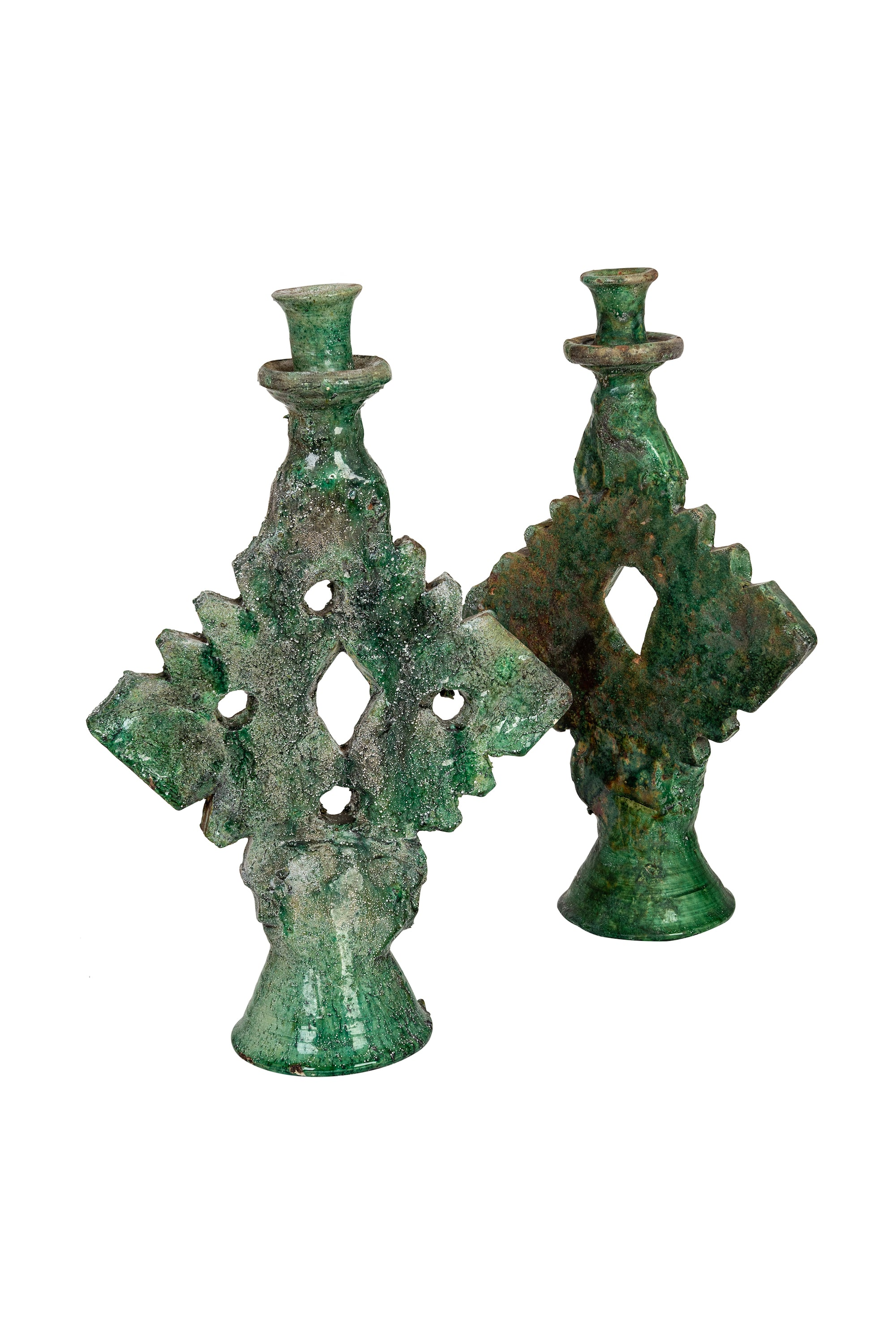 Pair of Emerald Vintage Candlesticks