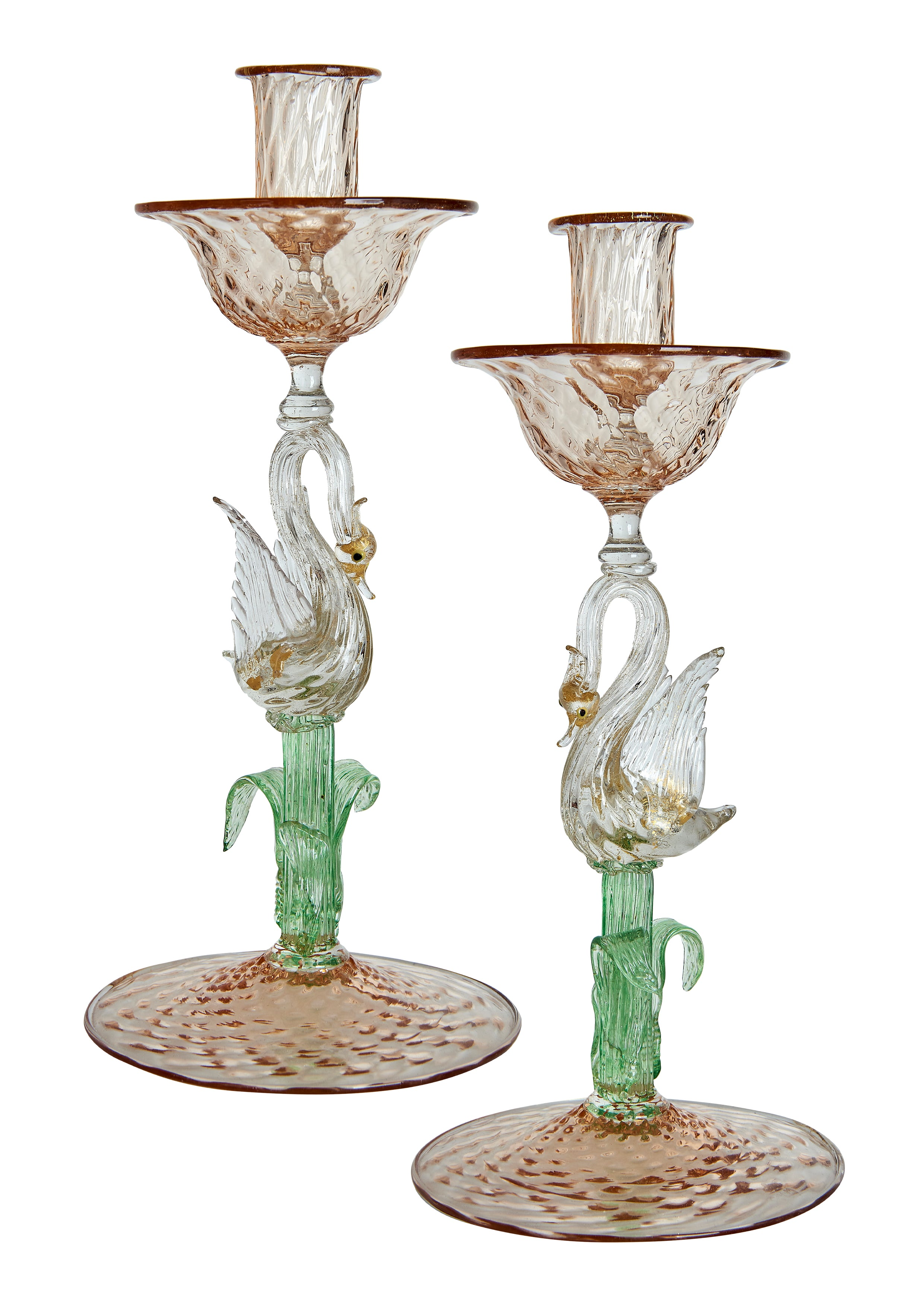 Pair of Hand Blown Salviati Venetian Murano Swan Candlesticks