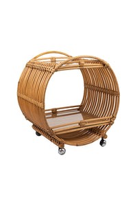 1970s Vintage Bamboo/Rattan Drinks Trolley