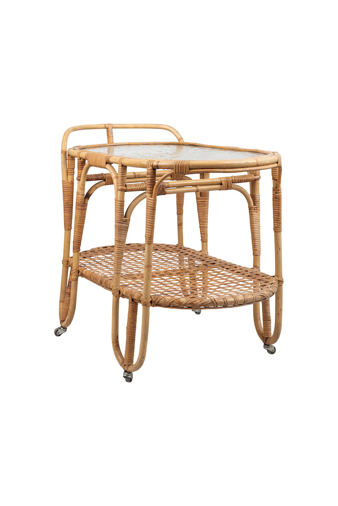 Vintage Rattan and Bamboo Drinks Trolley