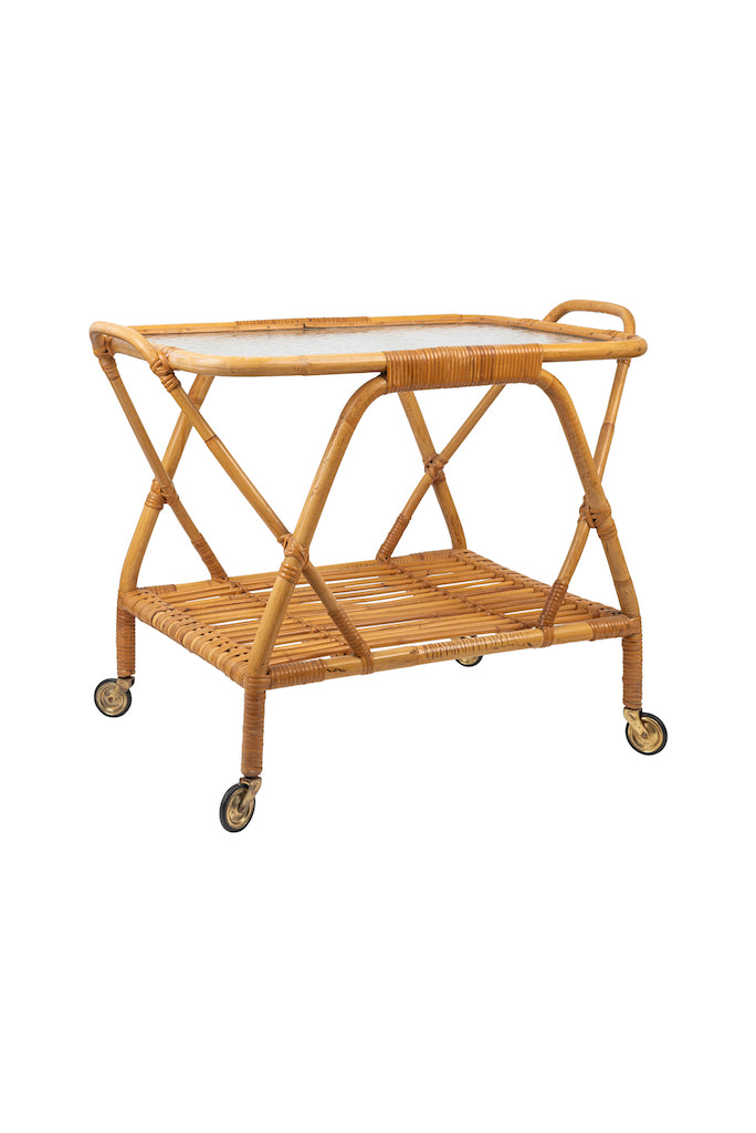 Vintage Bamboo and Glass Trolley