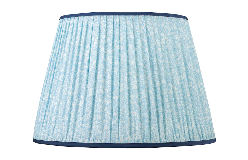 "Blue Floral 16"" Handmade Silk- Lined Lampshade"