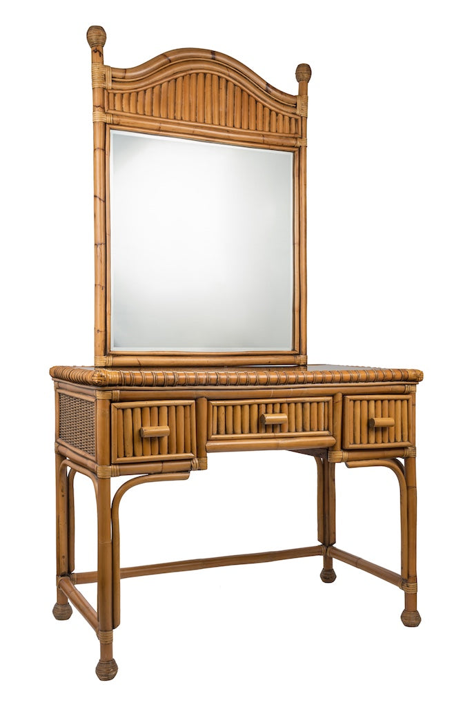 Vintage Bamboo Dressing Table and Separate Mirror