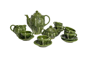 Vintage Mid 20th Century Portuguese Cabbage Leaf Tea Set