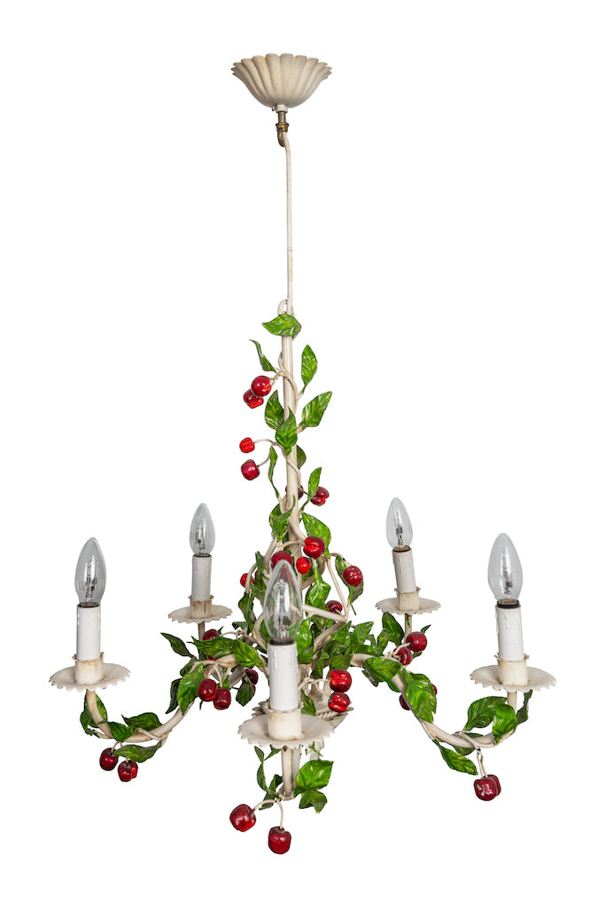 Vintage Cherry & Leaves Toleware Chandelier