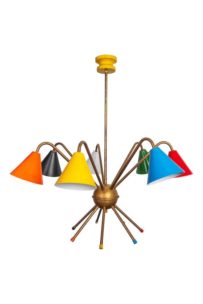 1950s Vintage Italian Chandelier with 7 Multi-Coloured Cups