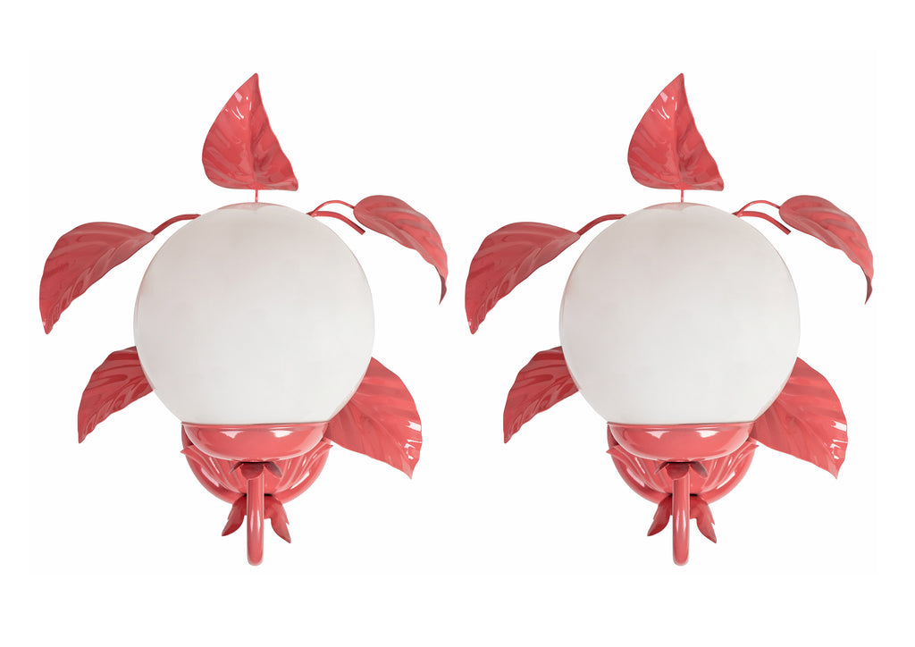 Pair of Pink Hand-Lacquered Vintage Toleware Leaf Wall Lights