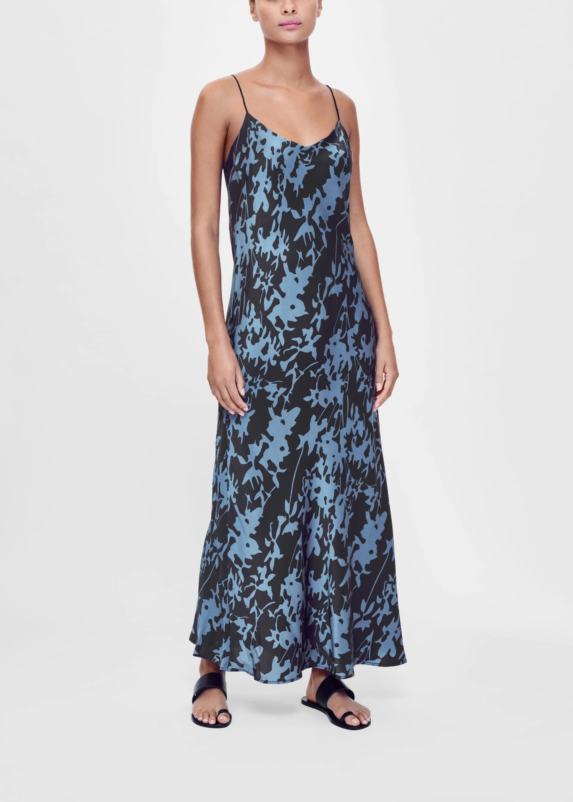 ASCENO LYON BLACK PRINTED SILK SLIP DRESS