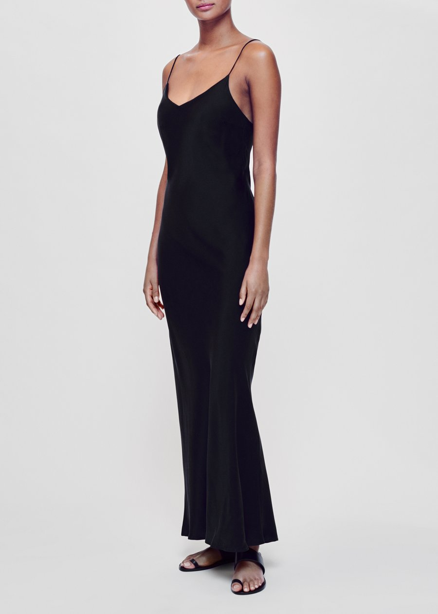 ASCENO LYON BLACK SILK SLIP DRESS