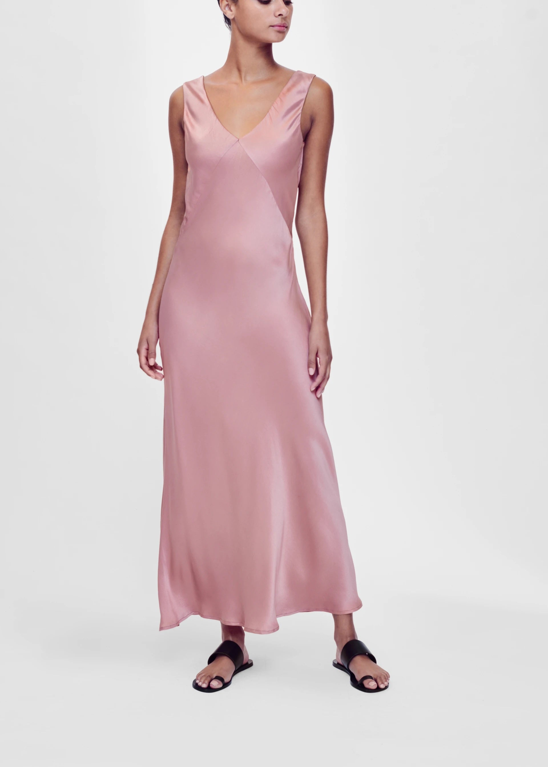 ASCENO BORDEAUX DUSTY ROSE SILK SLIP DRESS
