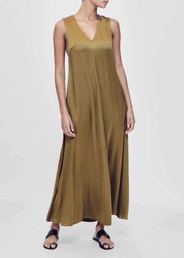 ASCENO SAVANNAH GREEN GOLD SILK MAXI DRESS