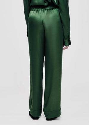 ASCENO LONDON GREEN BAMBOO SATIN PYJAMA BOTTOM