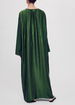 ASCENO RHODES JADE GREEN BAMBOO SATIN MAXI DRESS