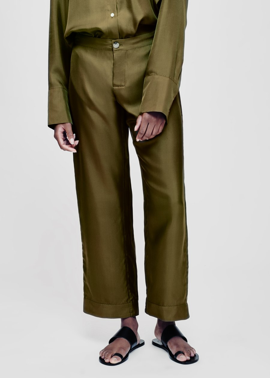ASCENO ANTIBES OLIVE SILK TWILL CROPPED TROUSER