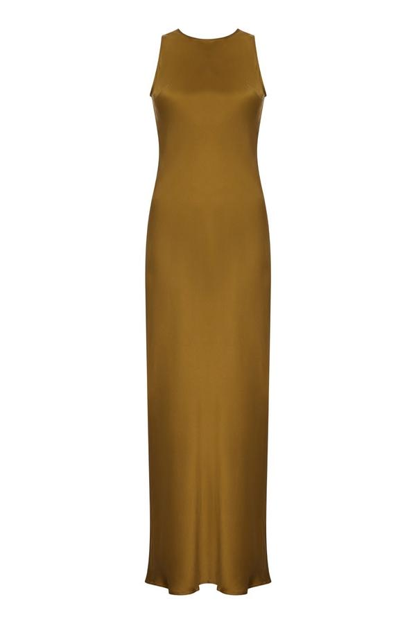 ASCENO VALENCIA GREEN GOLD SILK SLIP DRESS
