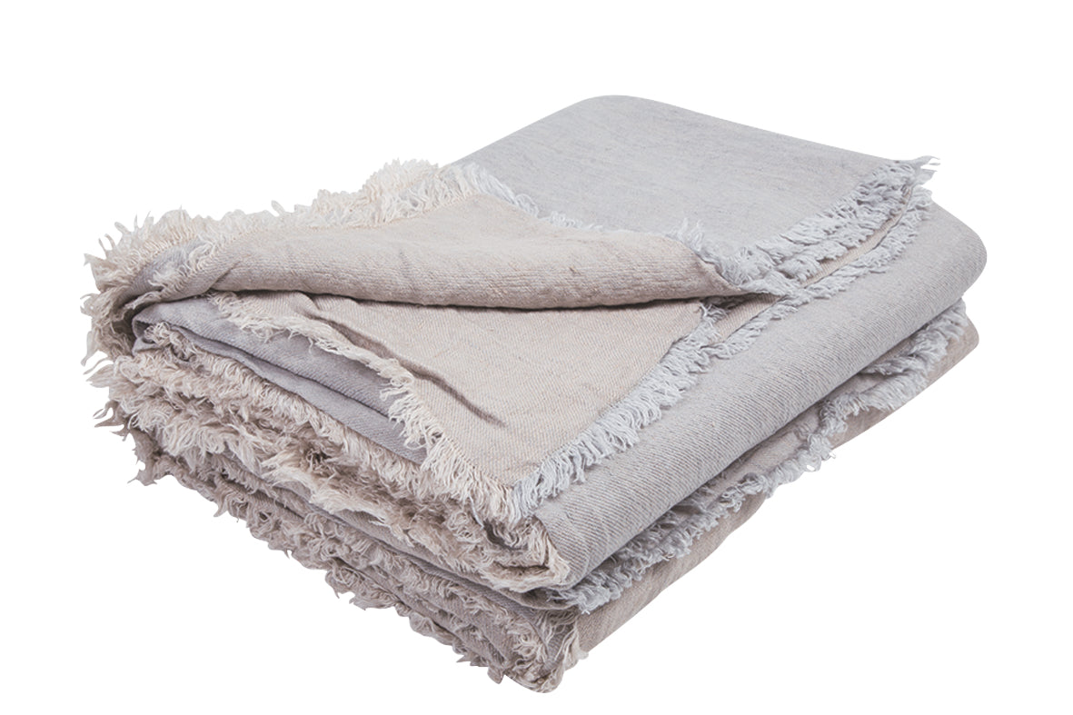 Vice Versa Fringed Linen Throw