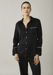 ASCENO LONDON JET BLACK WHITE EDGED SILK SHIRT