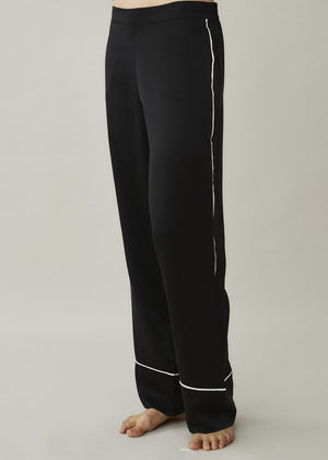 ASCENO LONDON JET BLACK WHITE EDGED SILK TROUSER