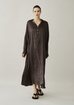 ASCENO PORTO BROWN MOSAIC SILK DRESS