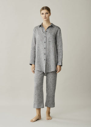 ASCENO MILAN CHARCOAL LINEN OVERSIZED SHIRT