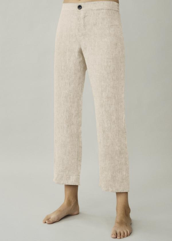 ASCENO ANTIBES OAT LINEN CROPPED TROUSER