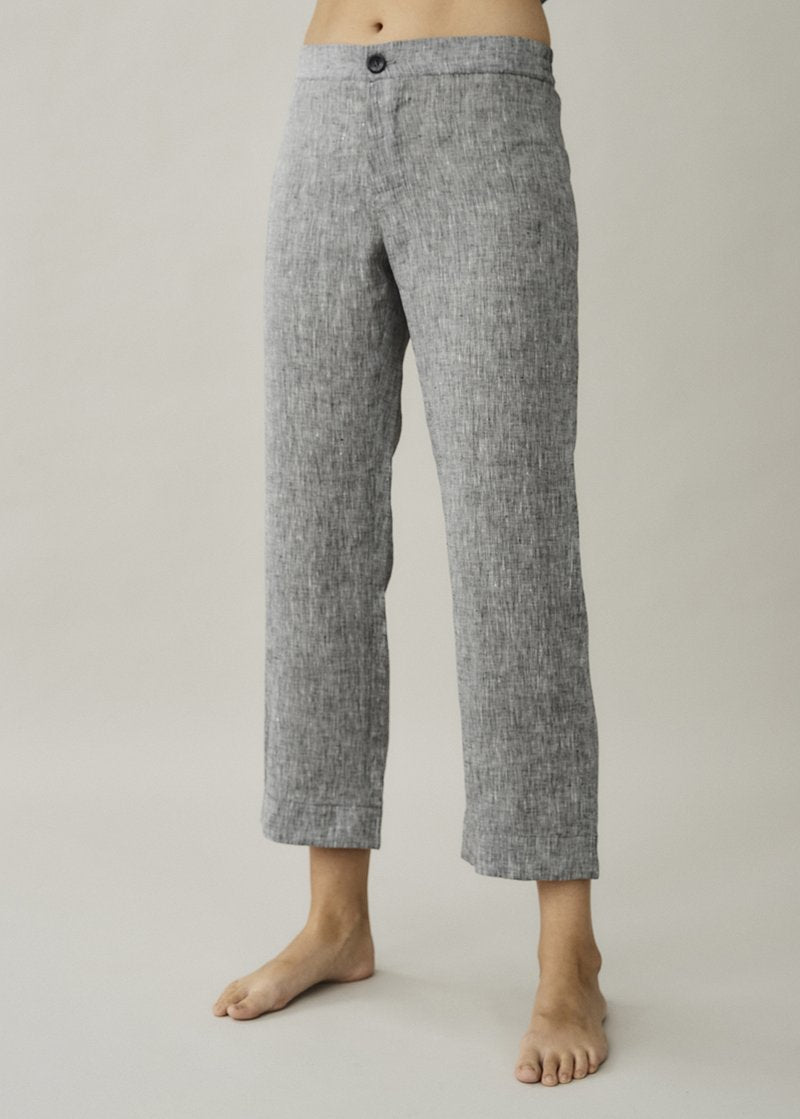 ASCENO ANTIBES CHARCOAL LINEN TROUSER