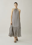 ASCENO IBIZA CREAM CRESCENT SILK TWILL DRESS