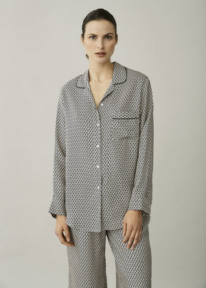 ASCENO PARIS CREAM CRESCENT SILK TWILL OVERSIZED SHIRT