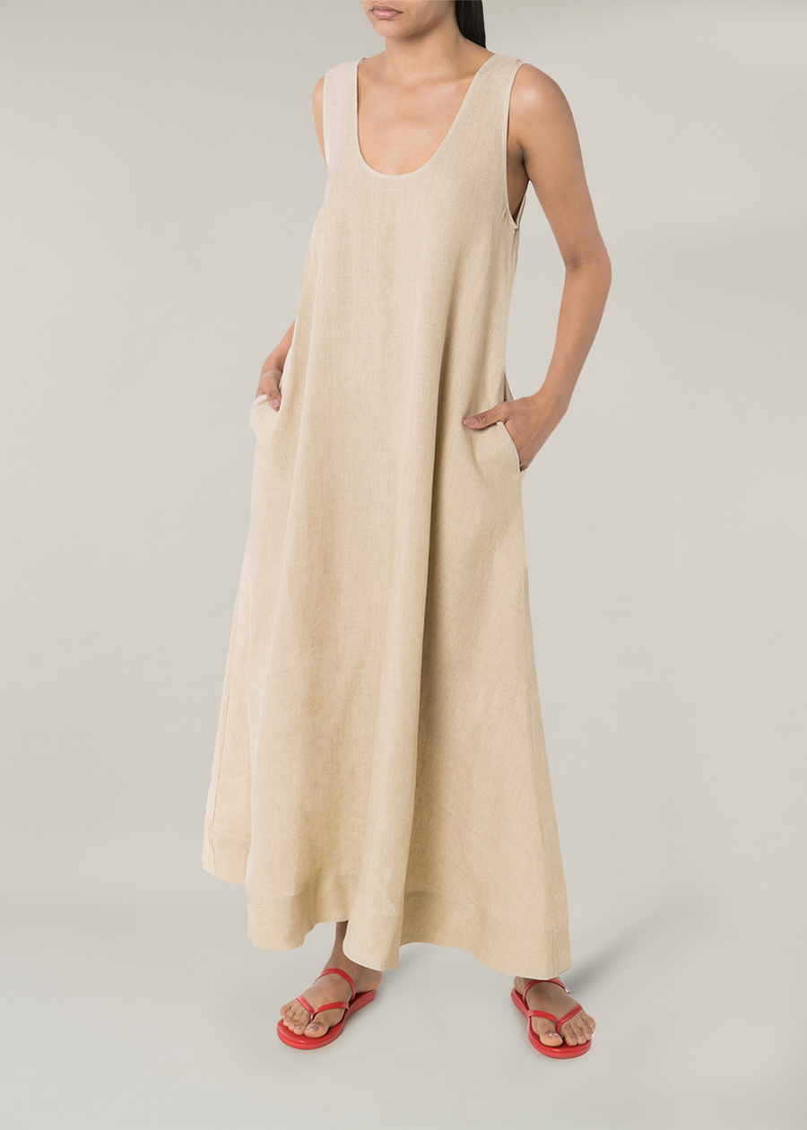ASCENO CAPRI OAT LINEN SCOOP NECK DRESS