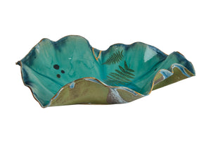 Aqua Porcelain large shallow bowl with Fern and Gold Details by Deborah Brett