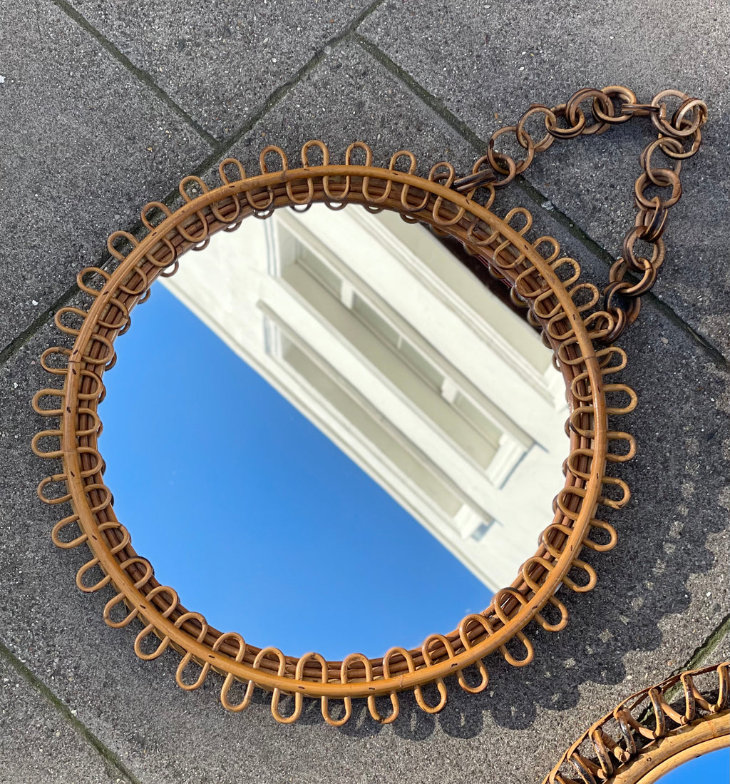 Vintage 50/60s Franco Albini Style Rattan Mirror with Chain