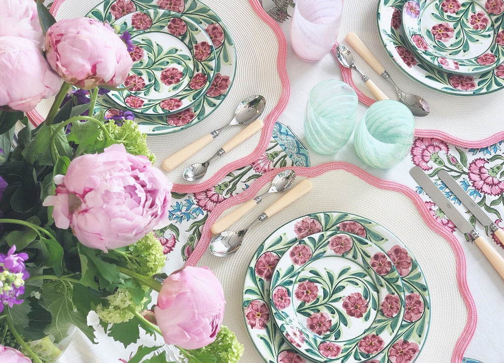 Pink Rose Bud Hand-Painted Plates