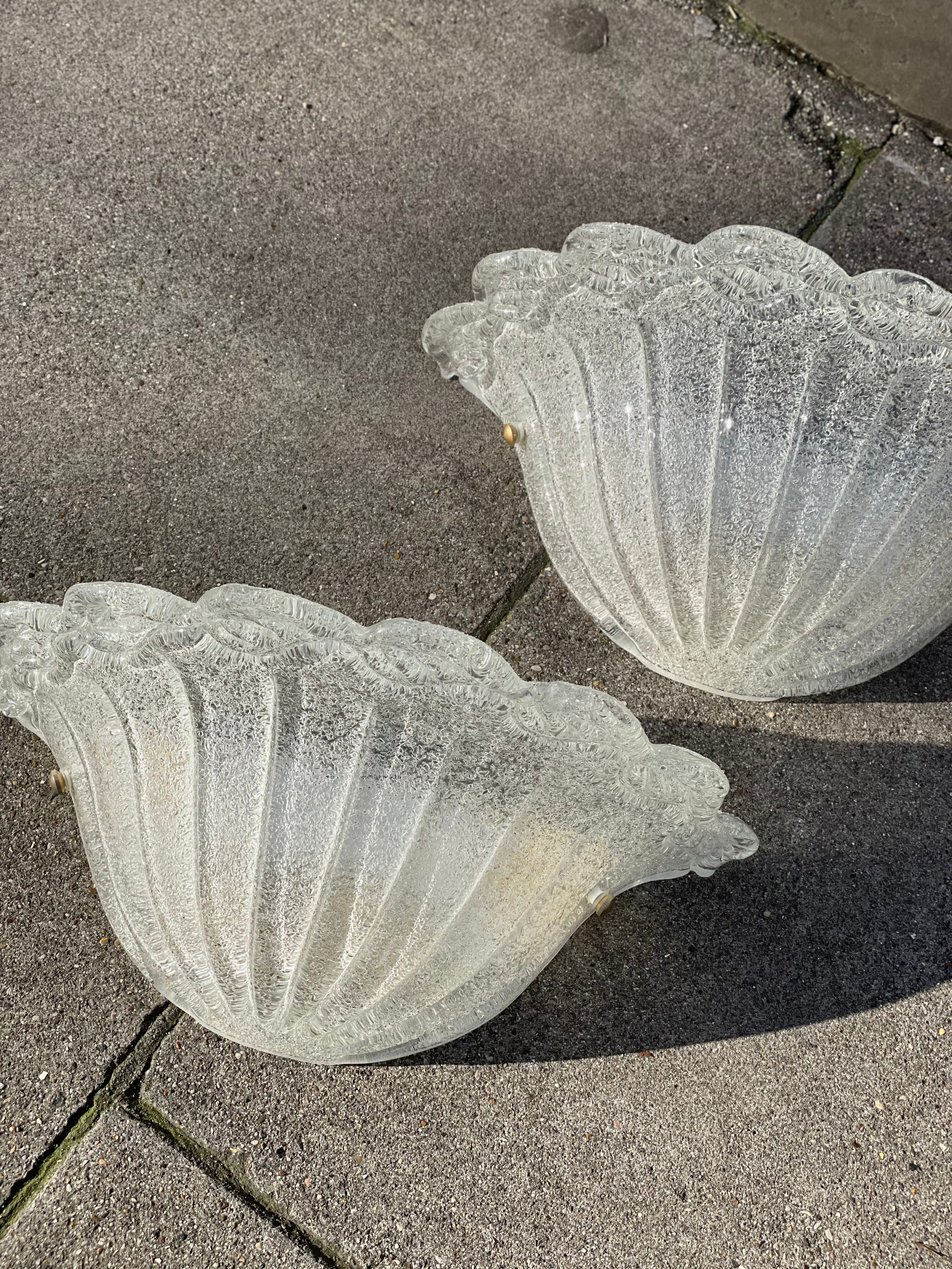 Pair of Scalloped Glass Wall lights