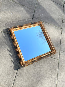 Vintage 1960s Rattan Square Loop Mirror