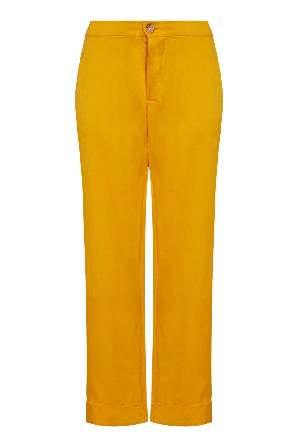 ASCENO ANTIBES SUNFLOWER SILK CROPPED TROUSER