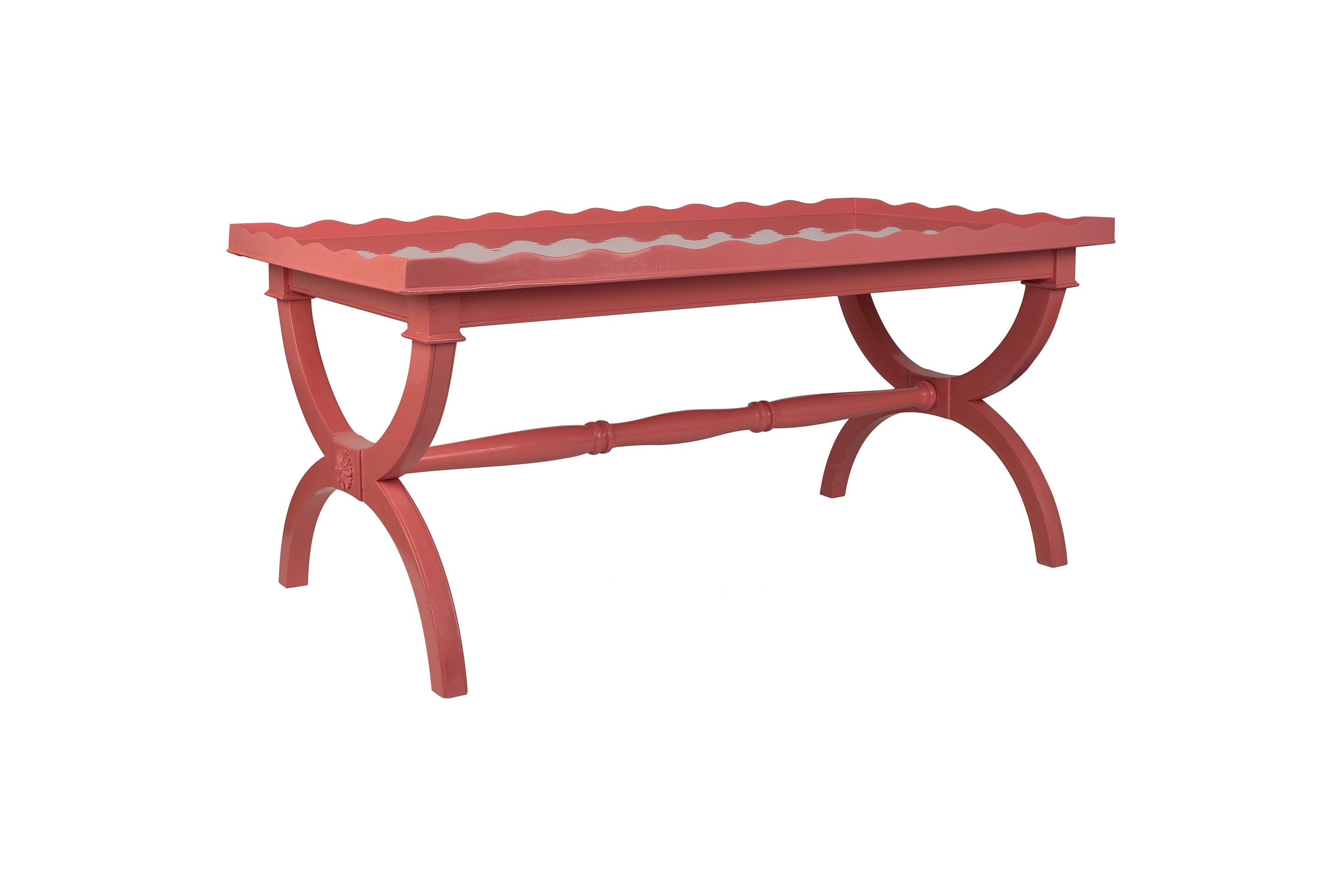 Pink Hand-Lacquered Vintage 1980s Coffee Table