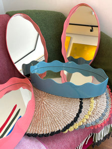Hand Lacquered Scalloped Mirror | Oval 45 cm